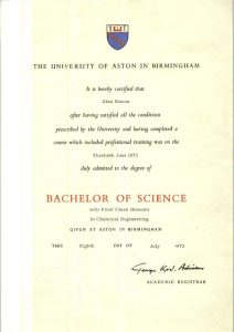 Bachelor of Science chemical engineering degree
