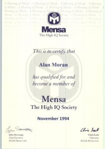 "<p style=""color: white;"">MENSA High IQ Society Member</style>"