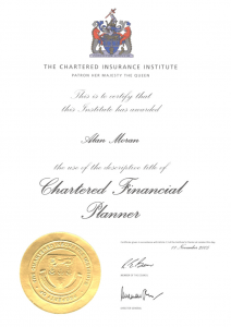 Chartered Financial Planner certificate from the Chartered Insurance Institute