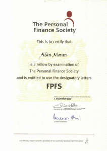 Personal Finance Society fellow with designatory letters FPFS
