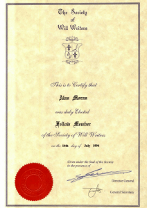 Society of Will Writers member certificate
