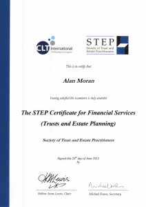 Society of trust and estate planning practitioners STEP certificate