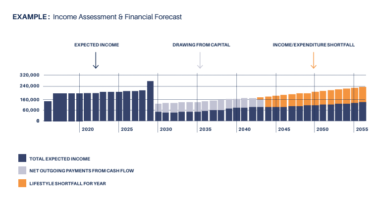 Income assessment and financial forecast