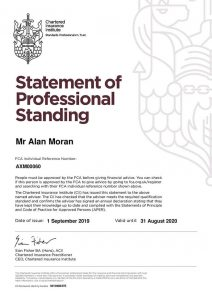 Alan Moran's Statement of Professional Standing