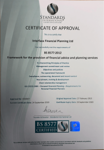 BS 8577 Certified Financial Advice and Planning Services certificate