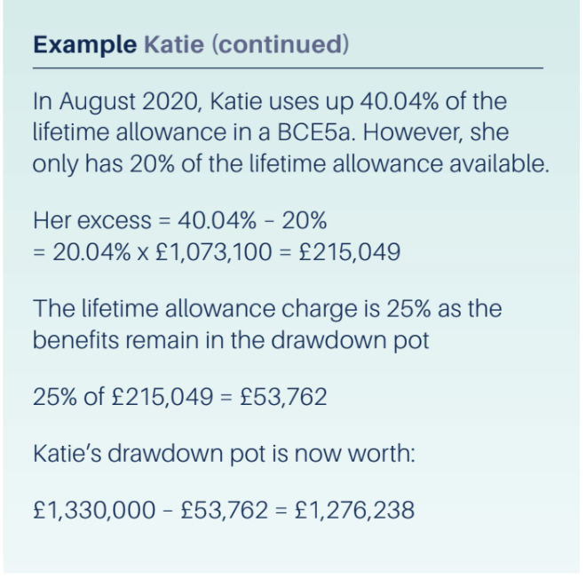 Example of lifetime allowance continued