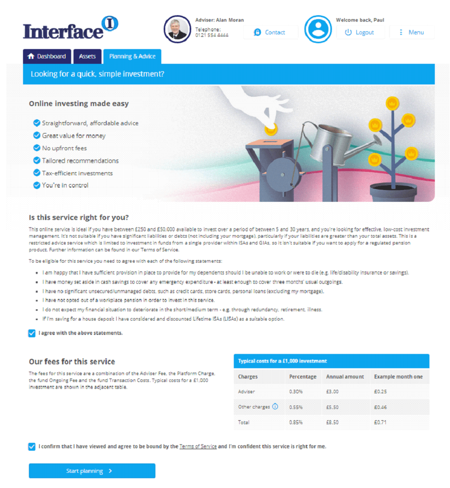 Robo Advice Financial Portal with Intelligent Office