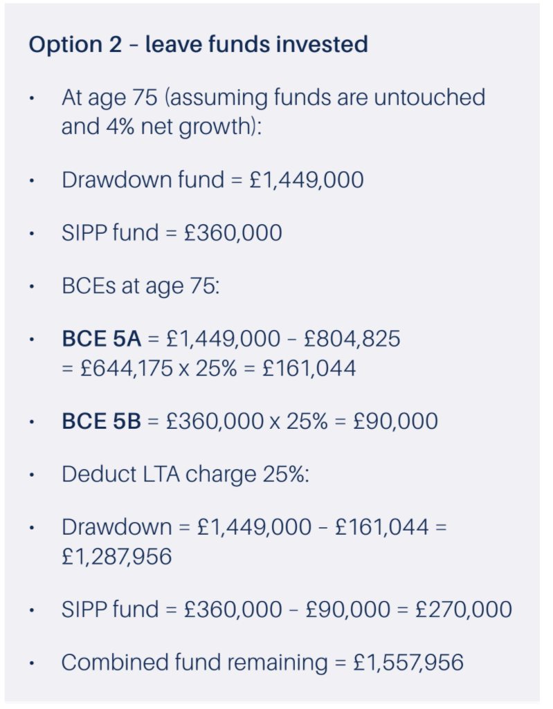example leaving funds invested
